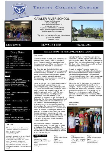 GAWLER RIVER SCHOOL NEWSLETTER Diary ... - Trinity College