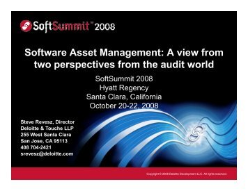 Software Asset Management: A view from two ... - SoftSummit
