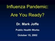 Influenza Pandemic: Are You Ready? - Public Health WORKS