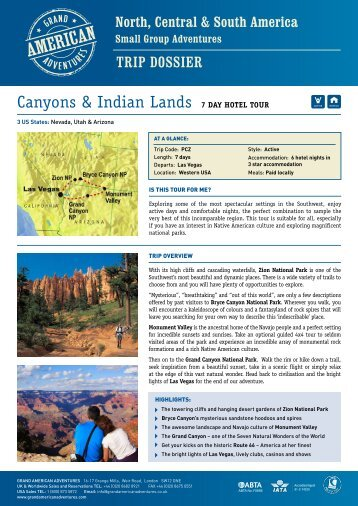 Canyons & Indian Lands 7 Day hotel tour - Adventure Holidays ...
