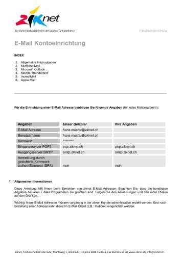 E-Mail Einrichtung - Ziknet
