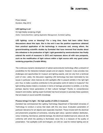 Press release Dornbirn, May 2012 LED lighting in art On high-fidelity ...