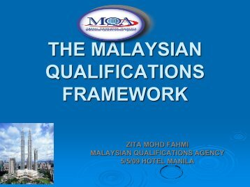 the malaysian qualifications framework - Asia Pacific Academic ...