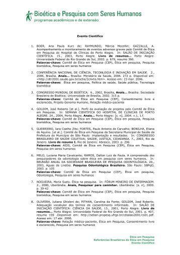 Evento Científico 1. BOER, Ana Paula Kurz de; RAYMUNDO ... - Anis