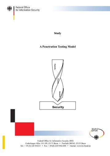 BSI - Study A Penetration Testing Model - Bundesamt für Sicherheit ...