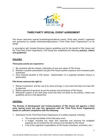 THIRD PARTY SPECIAL EVENT AGREEMENT - Fife House