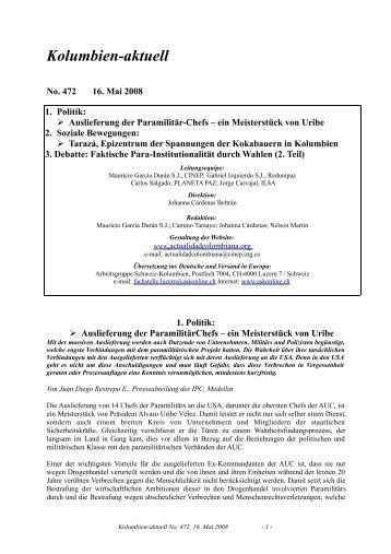 Kolumbien-aktuell No. 472, 16. Mai 2008 - ask! Arbeitsgruppe ...