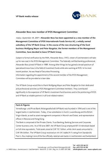 VP Bank media release Alexander Boss new member of IFOS ...