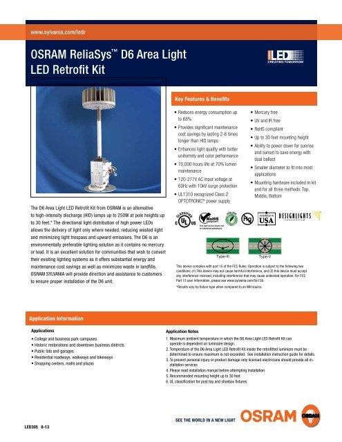D6 Area Light LED Retrofit Kit - Osram Sylvania