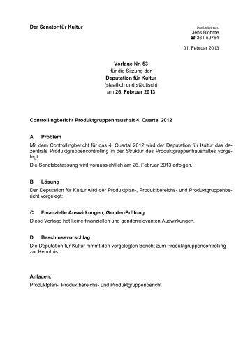 Vorlage 53 - Produktgruppencontrolling 4. Quartal 2012