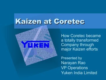 Kaizen at Coretec with VK Grover - here