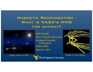 Magnetic Reconnection - Plasma Physics at West Virginia University