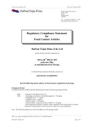 Compliance statement for food contact - mylar 850af & 853