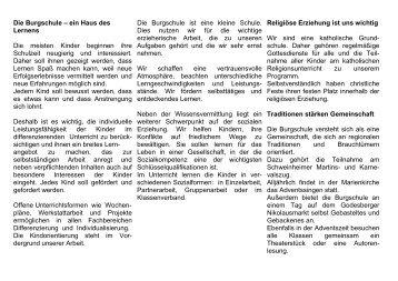 Burgschul-Flyer - KGS Burgschule