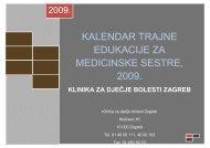 KALENDAR TRAJNE EDUKACIJE ZA MEDICINSKE SESTRE, 2009.