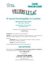 4e tournoi homologable en 3 parties Dimanche 9 juin 2013