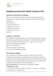 Heilpflanzenschule Karin Detloff: Programm 2010