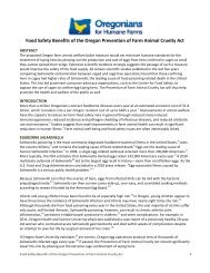 The Food Safety Benefits of the Oregon Prevention of Farm Animal ...