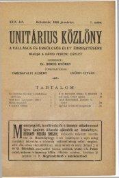 1916 - Magyarországi Unitárius Egyház