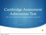 Cambridge Assessment Admissions Test, UK - Renaissance College