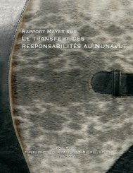 Le Rapport Mayer sur le transfert des responsabilités au Nunavut