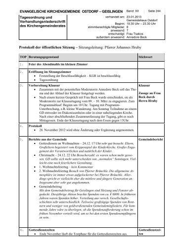 KGR Protokoll vom 23.01.2013 - Evangelische Kirchengemeinde ...