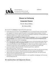 Klausur zur Vorlesung Corporate Finance - WiWi - Universität ...