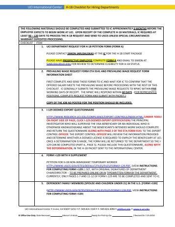 H-1B Checklist for Hiring Department - UCI International Center