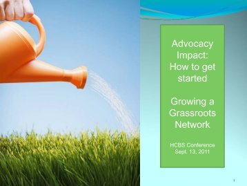 Advocacy Impact: How to get started Growing a Grassroots Network