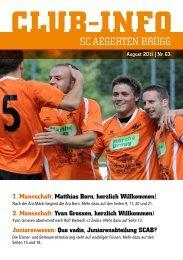 Club Info Nr. 63 (08.2011, ca. 1,49 - SC Aegerten Brügg
