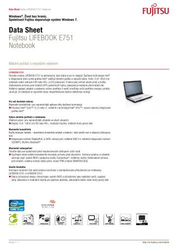 Data Sheet Fujitsu LIFEBOOK E751 Notebook - eD' system Czech, as