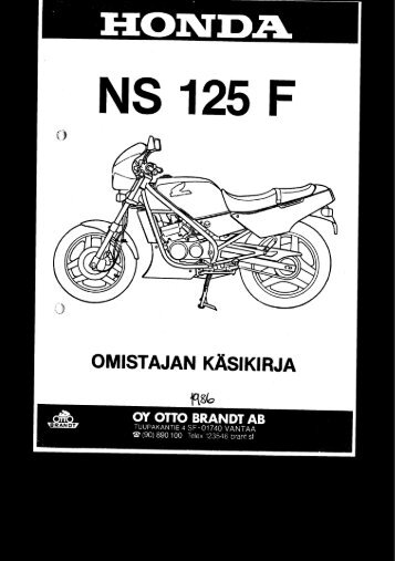 NS125F 1986 käsikirja (.pdf, 0.92 MB) - Honda