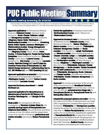 Summary - Pennsylvania Public Utility Commission