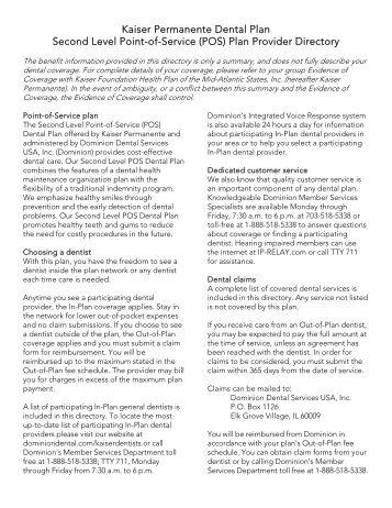 Kaiser Permanente Dental Plan Second Level Point-of-Service (POS)