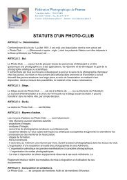 statuts d'un photo-club - Fédération Photographique de France