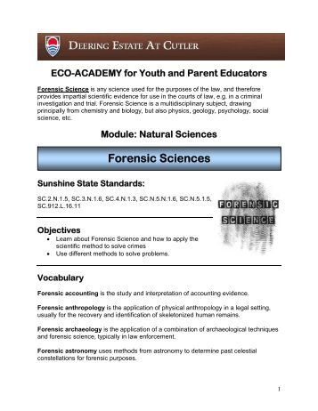 Forensic Sciences Lesson Plan - Deering Estate at Cutler