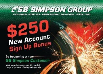 250 New Customer Bonus Signup Card - SB Simpson