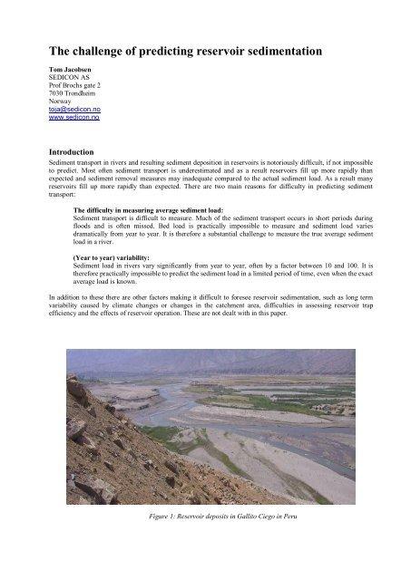 The challenge of predicting reservoir sedimentation - Sedinet