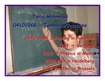 Tariq Mahmoud 04101968 - Tammoun/Palestine - IIHE