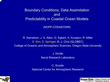 Boundary Conditions, Data Assimilation and Predictability in Coastal ...