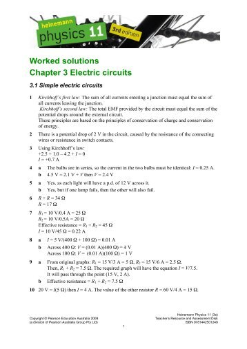 Worked solutions Chapter 3 Electric circuits - PEGSnet