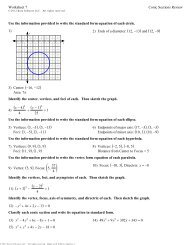 Worksheet 7 Conic Sections Review Use the information provided to ...