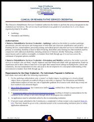 Clinical or Rehabilitative Services Credentials (Audiology ...