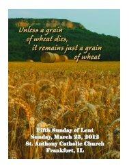 Fifth Sunday of Lent Sunday, March 25, 2012 St. Anthony Catholic ...