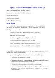 Správa o činnosti za rok 2000 - Telekomunikačný úrad SR