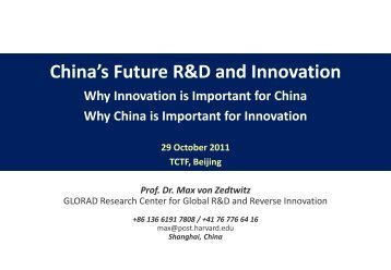 China's Future R&D and Innovation