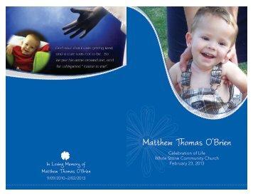 Matthew's CaringBridge Site Matthew's Program