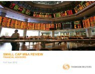 small cap m&a review - Thomson Reuters Deal Making Intelligence