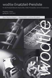 Ersatzteil-Preisliste Produktbereich Kamin-Heizeinsätze - Wodtke