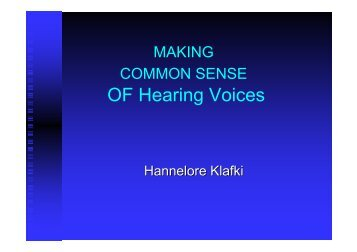 OF Hearing Voices - Peter Lehmann Publishing